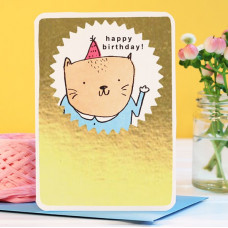 Card - Gold Birthday Cat