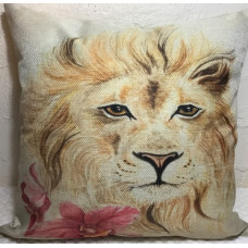 Lion with Flower Cushion