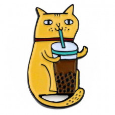 Drinking Kitty Enamel Pin