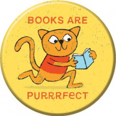 Button - 'Books Are Purrrfect'