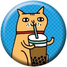 Button - Drinking Kitty