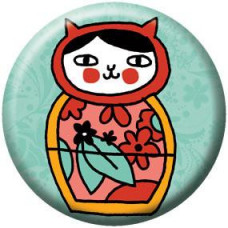 Button - Russian Doll Cat
