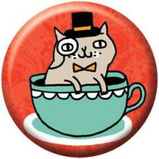 Button - Tea Cup Cat