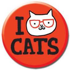Button - 'I Cat Cats' Red