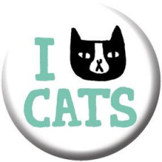 Button - 'I Cat Cats' White