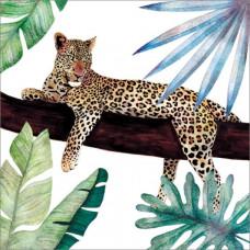 Card - Foil Resting Leopard