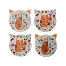Folksy Floral Cat Coaster Set