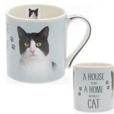 A House Is Not A Home Without A Cat Mug - Black & White Cat