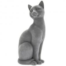 Grey Velveteen Sitting Cat Figurine