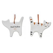 Ceramic Hanging Gift Tag Ornament - Calico Cat