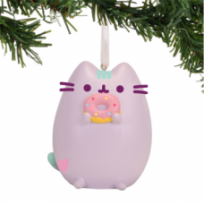 Pusheen Ornament - Purple Donut
