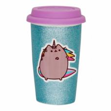 Pusheen Ceramic Travel Mug - Glitter Pusheenicorn