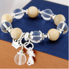 Cat Charm Stretch Beaded Bracelet