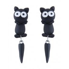 Black Cartoon Cat Dangle Earrings