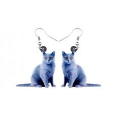 Blue Cat Acrylic Earrings