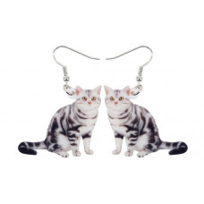 Grey Tabby Acrylic Earrings