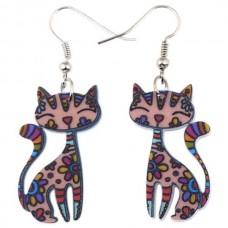 Happy Kitty Acrylic Earrings