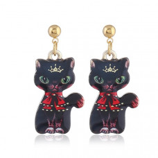 Oriental Cat Hanging Earrings - Black Cat