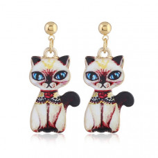 Oriental Cat Hanging Earrings - Siamese Cat