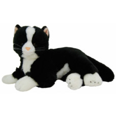 Black & White Laying Plush Cat