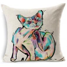 Devon Rex Colourful Cushion