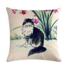 Black & White Cat in the Garden Cushion