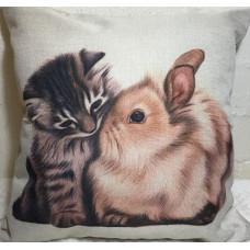 Kitten and Bunny Cushion